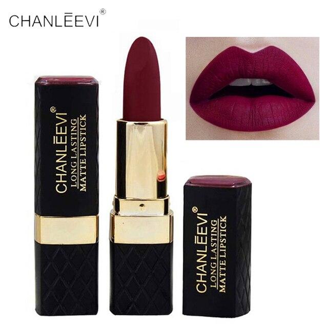 Venta caliente 2018 marca mate lápiz labial mujeres maquillaje impermeable de terciopelo de larga duración mate de lujo rojo oscuro maquillaje mate