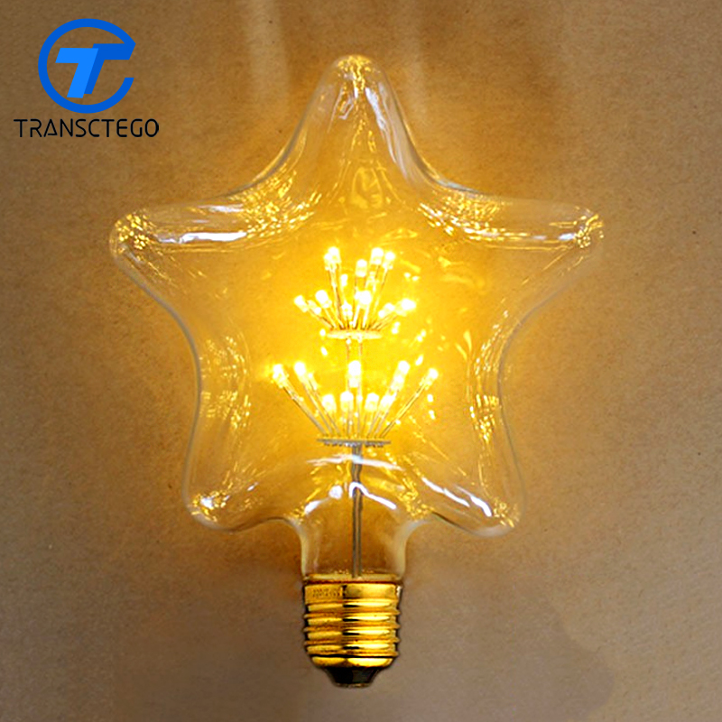 TRANSCTEGO Led bulb Pentagram E27 110V 220V Edison Retro Lighting Bulbs Edison Hotel Der Bar Decoration Lamp