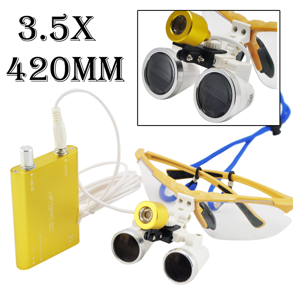Best Offer 3.5x420 SY-25 Dental Binocular Loupes Lab Surgical Glasses + LED Head Light Lamp For Dentists Yellow Color