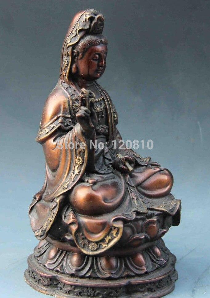 ▻7 budismo templo rojo cobre bronce flor de loto Guan Yin kwan-yin ...
