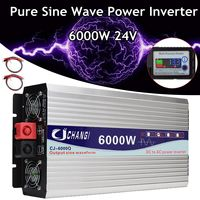 3000/4000/5000/6000W Portable 24V to AC 220V Power Solar Inverter Pure Sine Wave Converter Adapter LCD Screen 93% Conversion