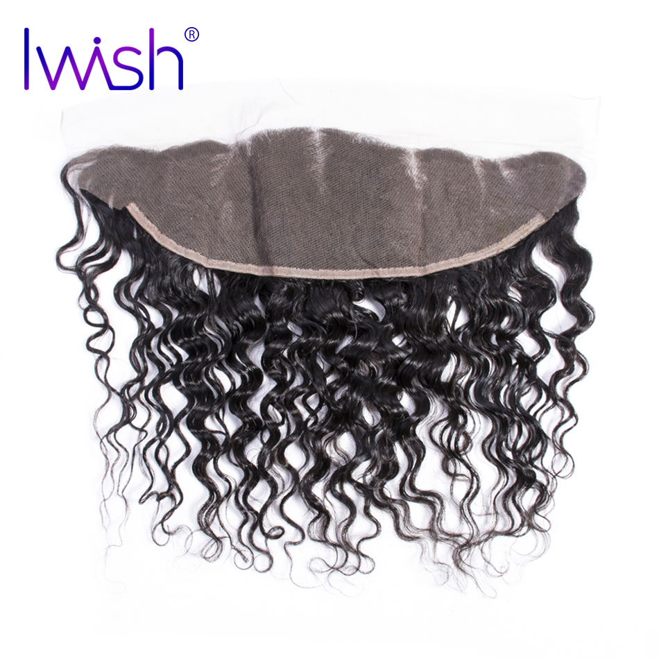 Iwish Hair Brazilian Water Wave Hair Lace Frontal 100% Human Remy Hair 13×4 inch From Ear to Ear Closure Free Part 8-20 inch