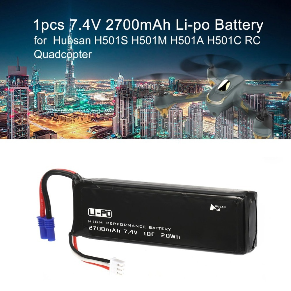 7.4V 2700mAh 10C 20Wh Li-po Battery Spare Part Accessory for Hubsan H501S H501M H501A H501C RC Quadcopter Drone Aircraft 7 4v 2700mah 10c battery ec2 plug durable for hubsan h501s quadcopter rc drone an88