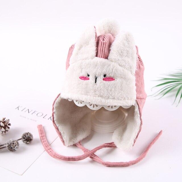 9e7aae9da49 Bunny Bomber Hat Baby Boys Girls Winter Hats For Kids Thick Warm Corduroy  Velvet Cold Cap