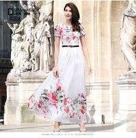 DF Plus Size White Dress Xxxl Women Chiffon Printed Flowers Long Dress Short Sleeves O Nec