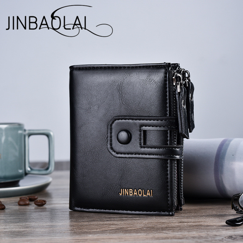 JINBAOLAI New Casual Men Wallets British Multifunction Hasp Zipper Card Holder Bag Folding Buckle Men Carteira Luxury Purse