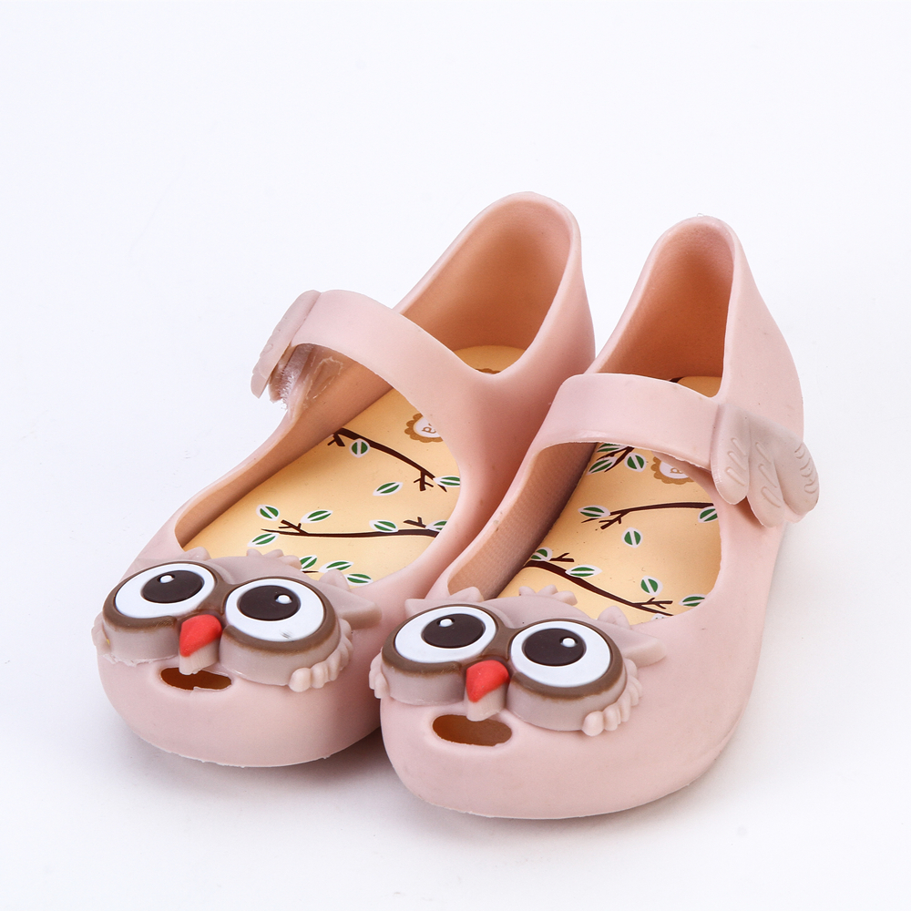 2018 Mini Melissa New Summer Owl Style Girls Shoes Soft Ornament Girl Sandals Thick Rubber Cute Sandals Buckle Slipper