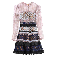 XF 2018 Spring And Summer Fashion Designer Runway Summer Women S Vintage Hollow Lace Stitching Pink