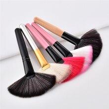 1Pcs Soft Make Grote Fan Brush Foundation Blush Blusher Poeder Highlighter Borstel Poeder Dust Cleaning Borstels Cosmetische Tool
