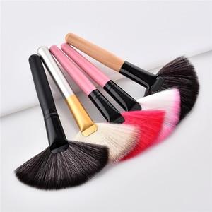 Image 1 - 1Pcs Soft Makeup Large Fan Brush Foundation Blush Blusher Powder Highlighter Brush Powder Dust cleaning brushes Cosmetic Tool