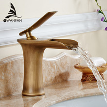 Chrome and White Color Finish Waterfall Bathroom Faucet Bathroom Basin Mixer Tap with Hot and Cold Water 6009
