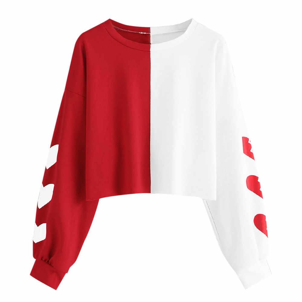 Tanaman Top Hoodies Wanita Ladies Kaus Wanita Lengan Panjang Jantung Cetak Patchwork Round Leher Sweatshirt Berkerudung Kaus Baru