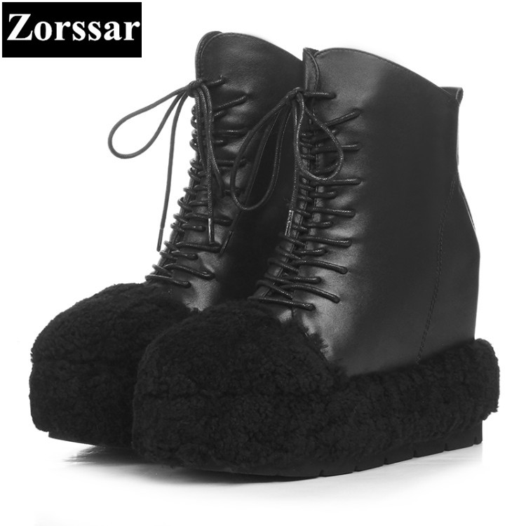 {Zorssar} 2017 NEW arrival winter plush Women Boots Genuine Leather platform ankle snow Boots fashion High heels womens shoes цена