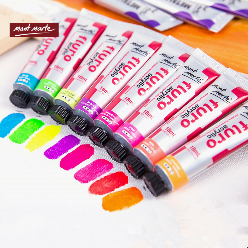 Montmartre 8*18ML Metallic Fluorescent Color Acrylic Paint Hand Painted Wall Painting DIY Create Flash Coloured Paint Color