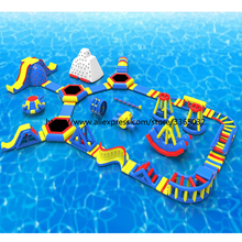 Giant Inflatable Fun Aqua Park Equipment /  Inflatable Commercial Water Park Design Build For Sale outdoor commercial use giant inflatable double lane water slide with arch