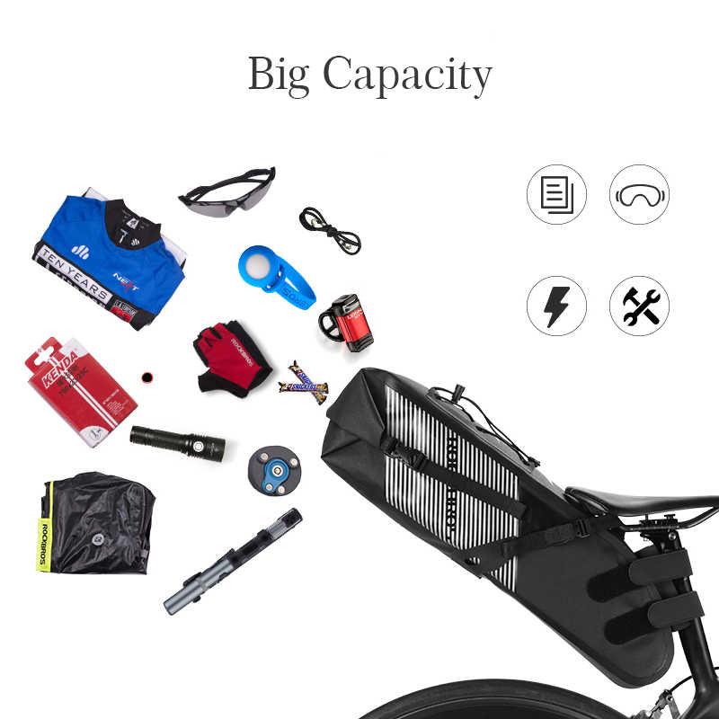ROCKBROS-Bolso para SILLÍN de bicicleta, resistente al agua, de gran capacidad, plegable, trasero, negro, para ciclismo de montaña