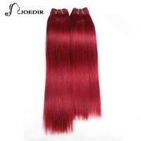 Joedir Pre colored Yaki Human Hair Bundles 4 Pcs One Pack 190 Gram Brazilian Straight Hair Weave Red Burg# Non Remy Hair