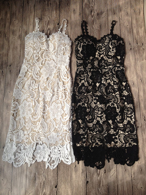 2018 Fashion Designer White/ Black Party dress Women Sexy Sleeveless Lace Crochet Hollow Out Slim Spaghetti Strap Bodycon Dress 16