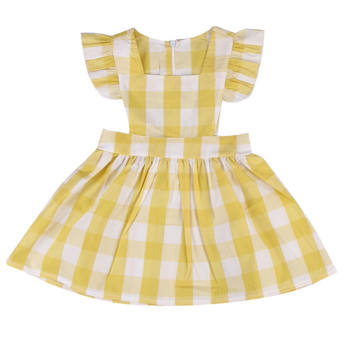 Cute Plaids Kids Baby Girls Princess Party Dresses Children Summer Ruffles Sundress 1-6Y