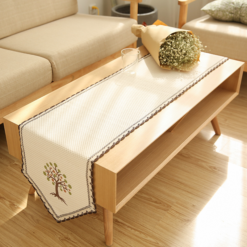 Modern Simplified Tablecloth Embroidered Table Cover Cotton Piano Shoe Cabinet Coffee Runner 35x180cm In Tablecloths From Home Garden On