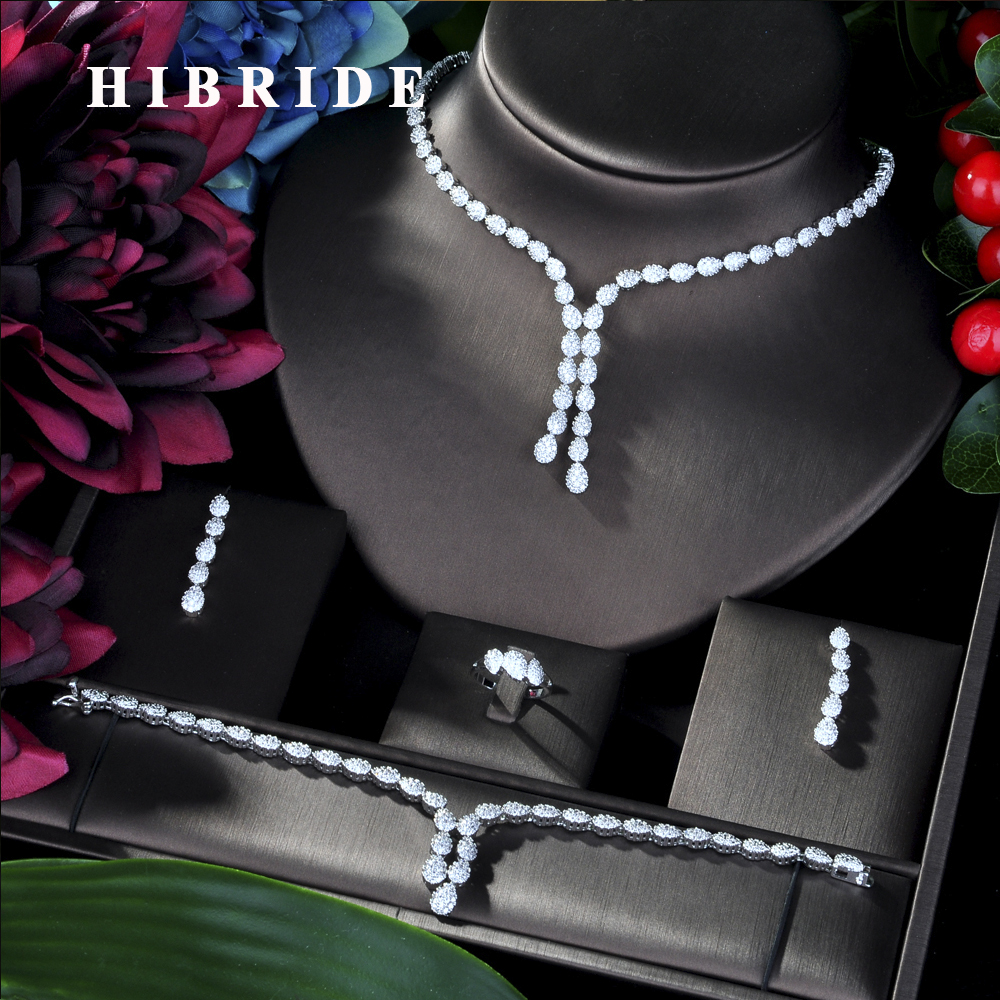 HIBRIDE Flower Leaf Luxury Women Nigerian Wedding Naija Bride Cubic Zirconia Necklace Dubai 4PCS Dress Jewelry Set N 49