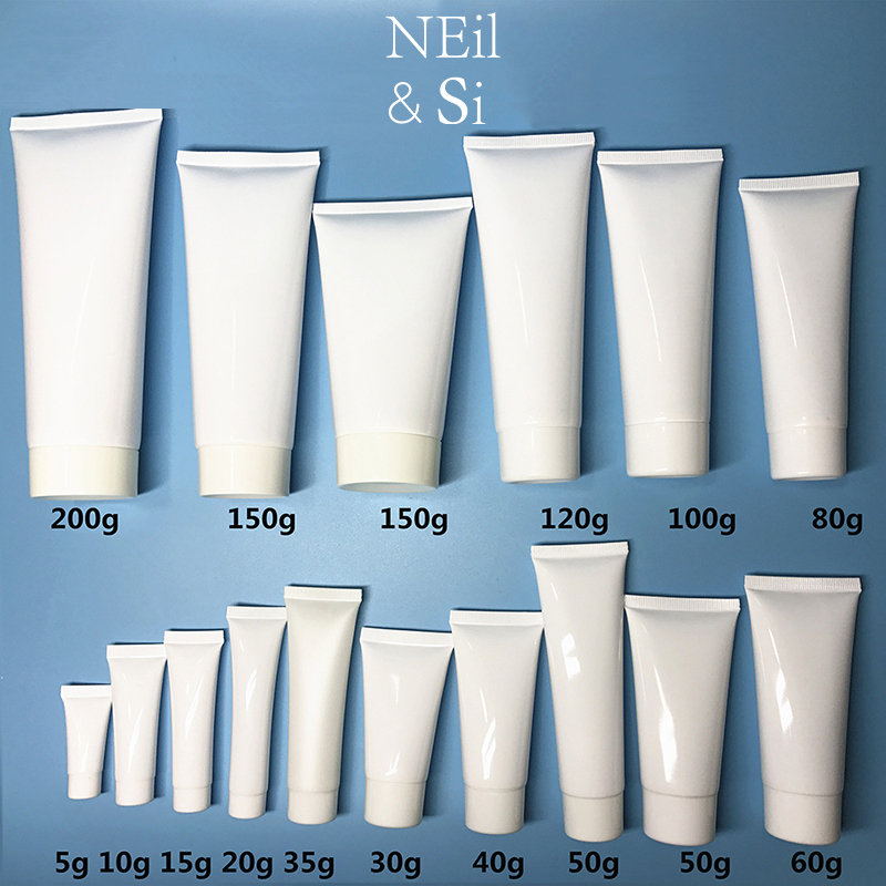 Free Shipping 5-200ml White Plastic Soft Bottle Cosmetic Hand Facial Cream Empty Squeeze Tube Shampoo Lotion Refillable Bottles