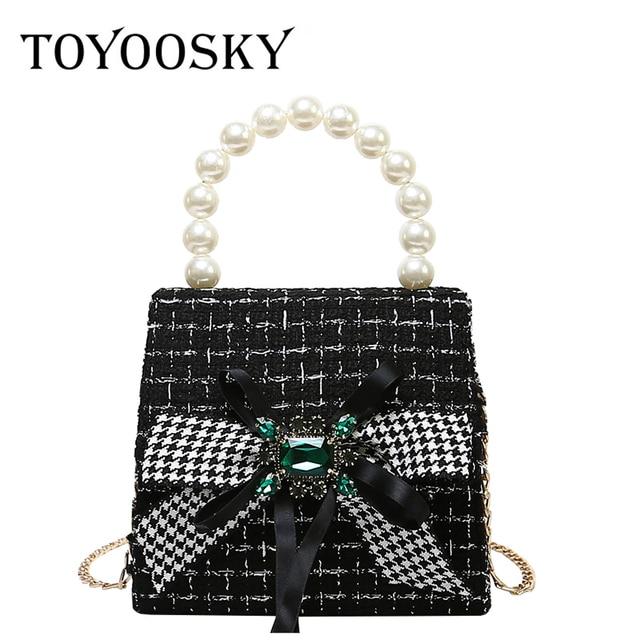 d5f55571d8f2 TOYOOSKY Winter Woolen Handbag Vintage Pearl Handle Women Evening Bag  Female Bow Plaid Shoulder Bag Fashion Ladies Crossbody Bag