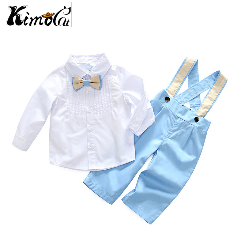 Kimocat spring and Autumn Kids Clothes Set For Boys Child Clothing Set Brand Long Sleeve Pullover overalls Baby Clothes стоимость