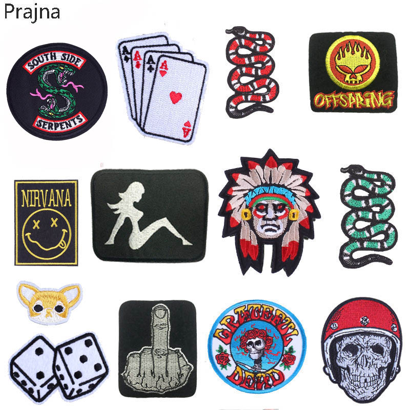 Prajna Tarot Pride Stalker Patch Snake Bob Marley Embroidered Patches Corgi Biker Iron On Patches For Clothes Stripe Sticker DIY