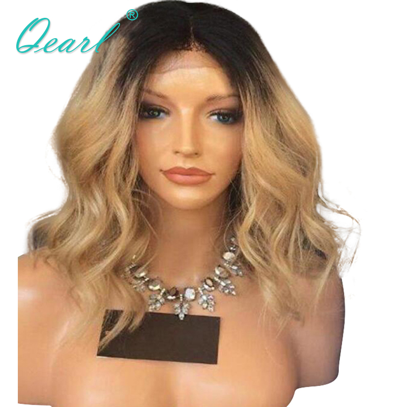 Qearl Pre-Plucked Hairline Lace Front Wig 130% Middle Part Wigs Indian Temple Virgin Hair Ombre Blonde Wavy Human Hair Wigs