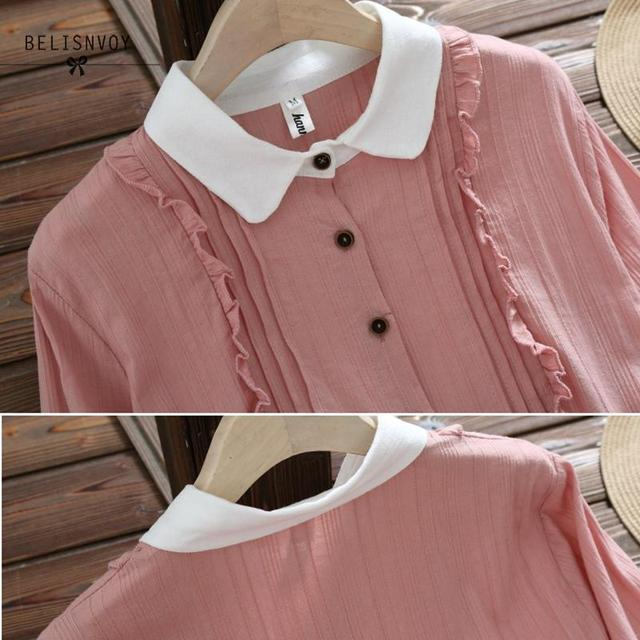 Vestidos Verano 2019 Blue Pink Japan Style Mori Girl Sweet Dress Women Ruffles Long Sleeve Cotton Linen Vintage Dresses 6