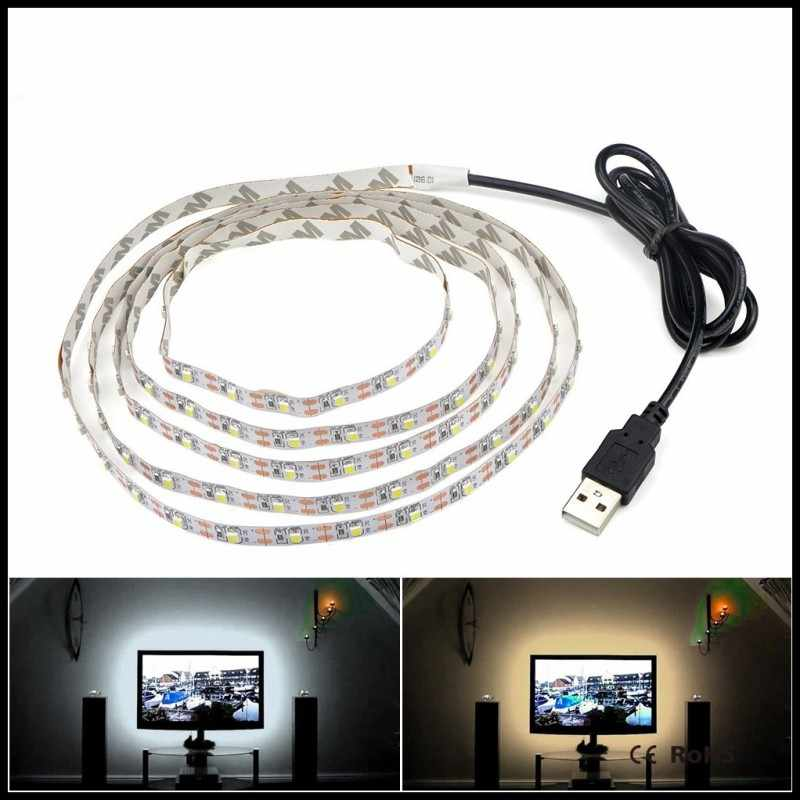 Usb Led Strip Dc 5V Licht Tv Achtergrond Verlichting SMD3528 Flexibele Led Tape 50 Cm 1M 2M 3M 4M 5M Diy Decoratieve Strip