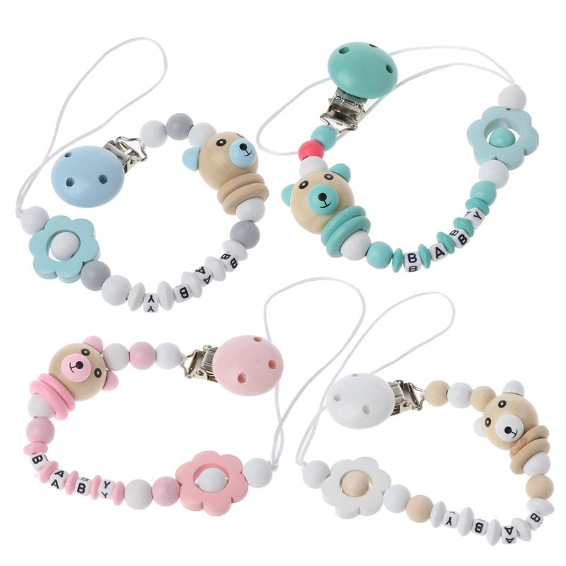 Baby Pacifier Clip Pacifier Chain Panda Shape Hand Made Cute Colourful Beads Dummy Clip Baby Soother Holder For Baby Kid in Pacifiers Leashes Cases from Mother Kids