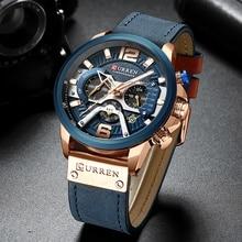 CURRENスポーツ腕時計メンズトップブランドの高級クロノグラフメンズ腕時計革ファッションクォーツ男時計防水腕時計