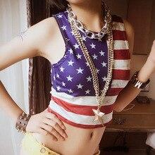 Women's Sexy tank tops bralette 2017 Summer American flag shoulder straps bustier vest ladies Skinny halter top bralette Girls american flag open back tank top