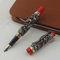 High Quality Luxury JINHAO Dragon Phoenix Pen Vintage Ink Pens for Writing F 0.5MM Nib Office Supplies dolma kalem