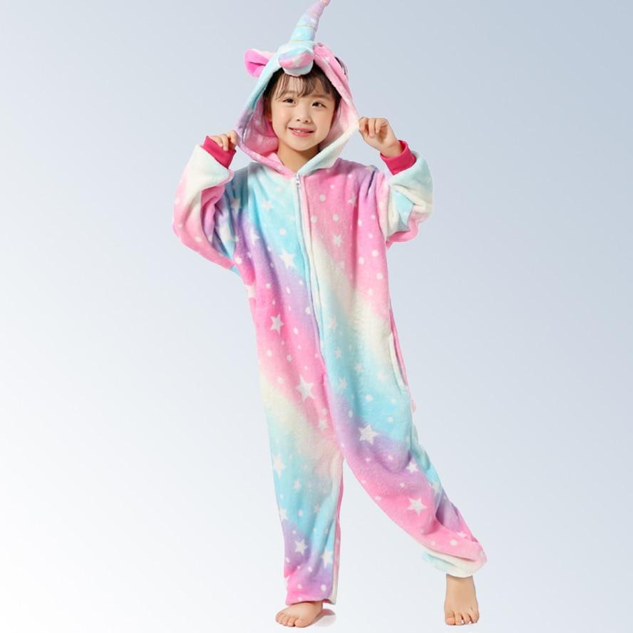 Kigurumi unicórnio pijamas infantis animal macacão crianças traje ponto panda pijama meninos meninas flanela arco-íris unicórnio pijamas