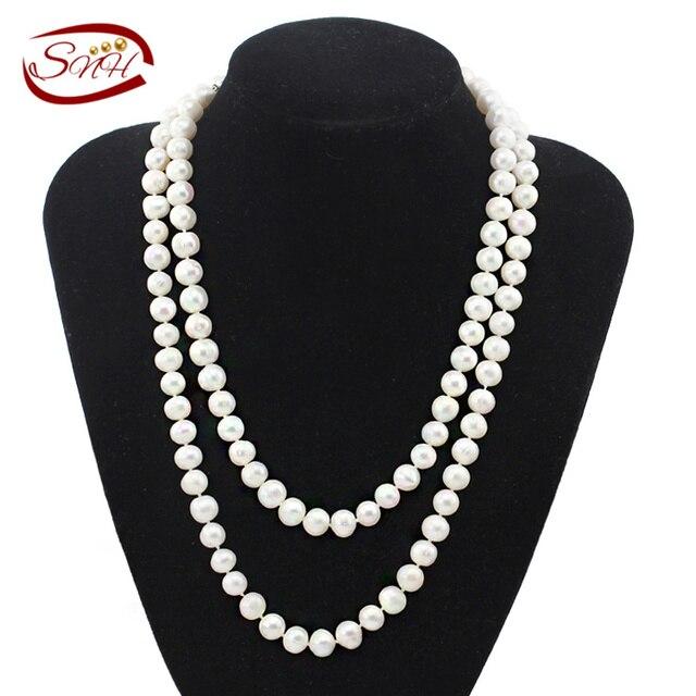 Snh 9-10 мм офф AA-100 см культивированный жемчуг Цепочки и ожерелья Jewelry Для женщин натуральный жемчуг Цепочки и ожерелья с сердце застежка по индивидуальному заказу