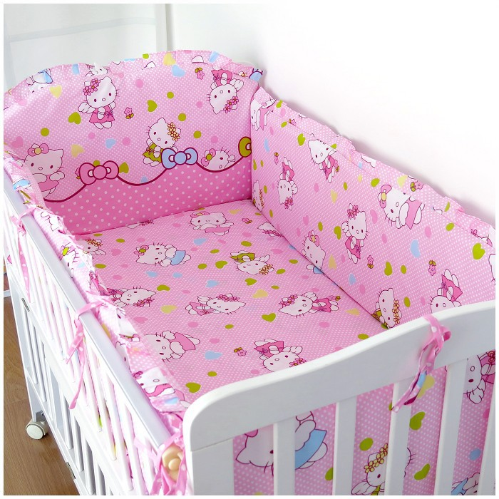 ФОТО Promotion! 6pcs Hello Kitty Baby Bedding Set Unpick,Soft kids bedding bumper Crib Bed,include (bumpers+sheet+pillow cover)
