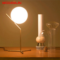 Modern Nordic Creative Table Lamps Round White Glass Shade LED Table Lamparas Golden Metal Iron Stick Bedside Adornment Lighting