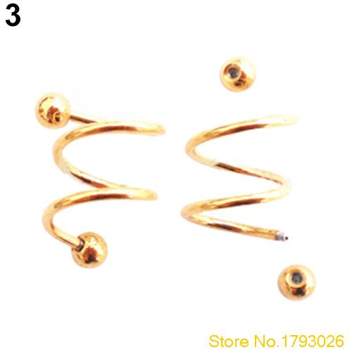 Stainless Steel S Spiral Helix Punk Ear Stud Lip Nose Ring Cartilage for Body Jewelry 4TVV