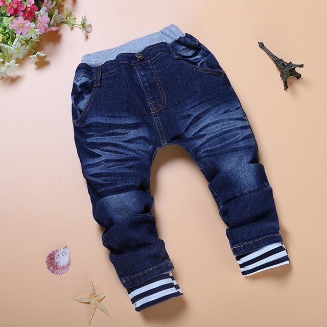 New Spring Autumn Kids Blue Elastic Waist Haren Solid Jeans Denim Pants Retail Boy Jeans for Kids 3-7 Y Children's Clothes