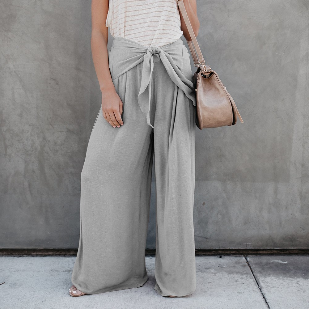 2019 Summer Women Casual Elastic High Waist Bow   Wide     Leg     Pants   Pleated Lace Up Belt Long   Pants   Loose Solid Plus Size Trousers