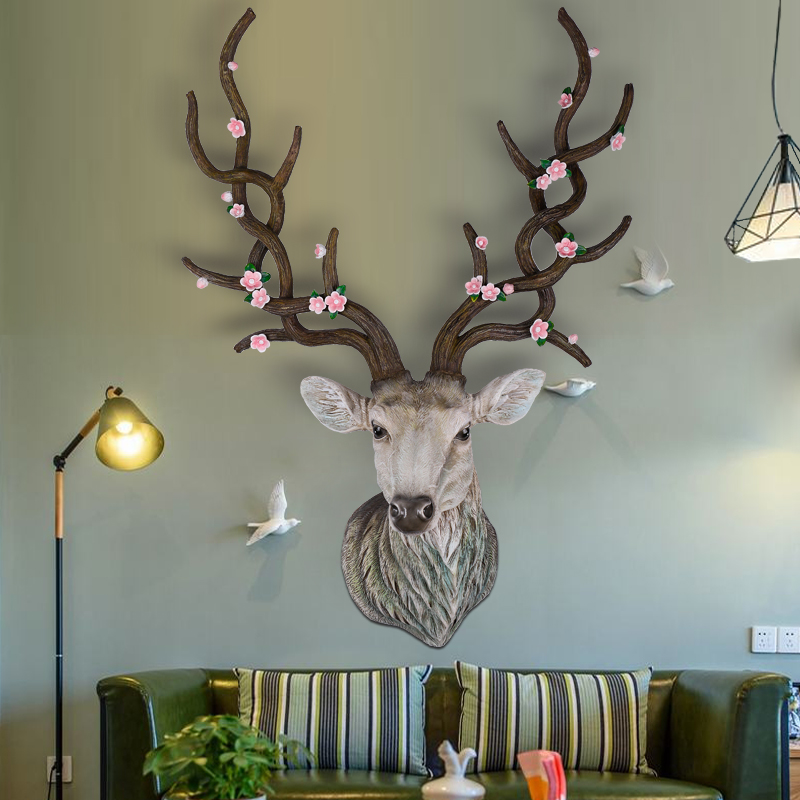 Sika deer plum wall decoration hanging wall animal head for Animal head wall decoration