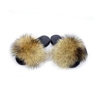 2019 Brand Luxury Shoes Fur Slippers Fox Fur Slides Fox Hair Flip Flops Fluffy Flat Furry Woman Fur Sandals House Slippers