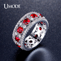 UMODE Gorgeous Wide Band Design Red simulated Diamond Rings White Gold Plated Ruby Color Jewelry  Nuevos Anillos Anel UR0356