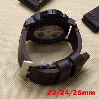브라운 블랙 22mm 24mm 26mm 빈티지 두꺼운 정품 가죽 스트랩 시계 밴드 교체 pam pam111 빅 파일럿 시계 팔찌