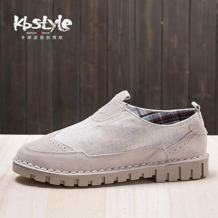 Running Freely Store 2017 New Mixed Colors Men Casual Linen Shoes With Genuine Leather Brand Men Shoes Canvas Breathable Outdoor Falt Shoes