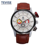 Fashion Calendar Lovers Watches Really Water Resistant Women Quartz Watch Brown Round Steel Dial Lether Strap