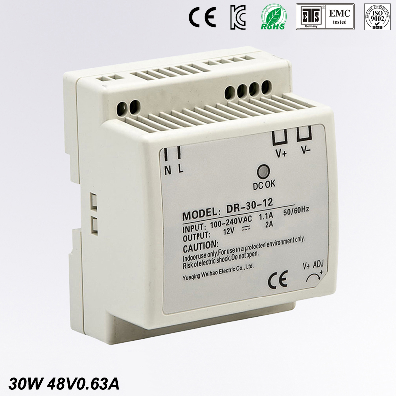 Free Shipping CE RoHS Certificated 30w 48v Din Rail Switching Power Supply For Industry